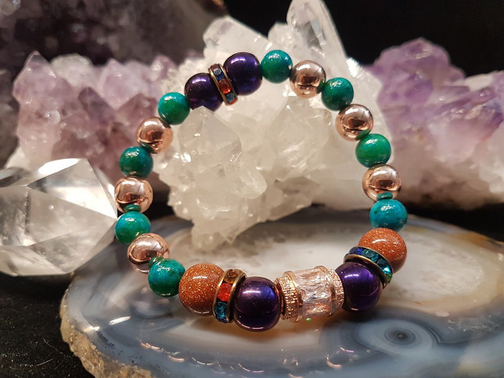 Zircon Chrysocolla and Hematite Bracelet (s)