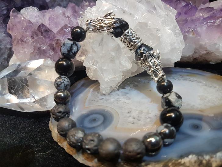 Snowflake Obsidian Dragon Bracelet (M-L)