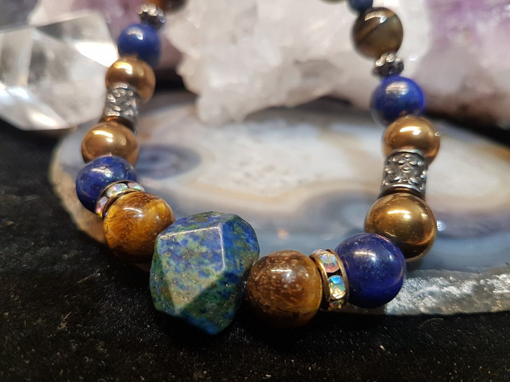 Lapis Lazuli  and Tiger`s Eye Bracelet (L)