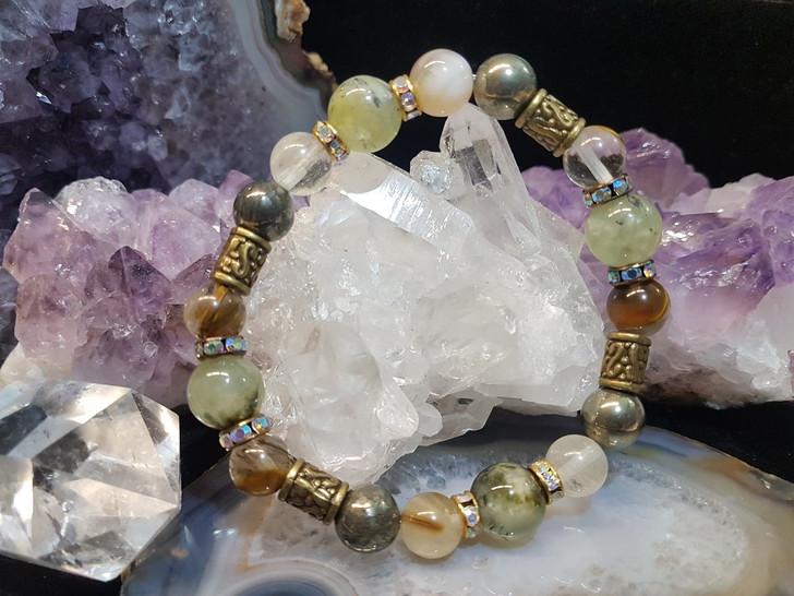 Prehnite Agate and Pyrite Bracelet (M-L)
