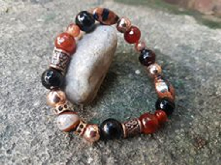 Fire Agate and Hematite Bracelet (M-L)
