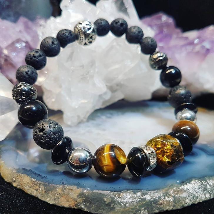 Amber & Hematite Bracelet (M-L)