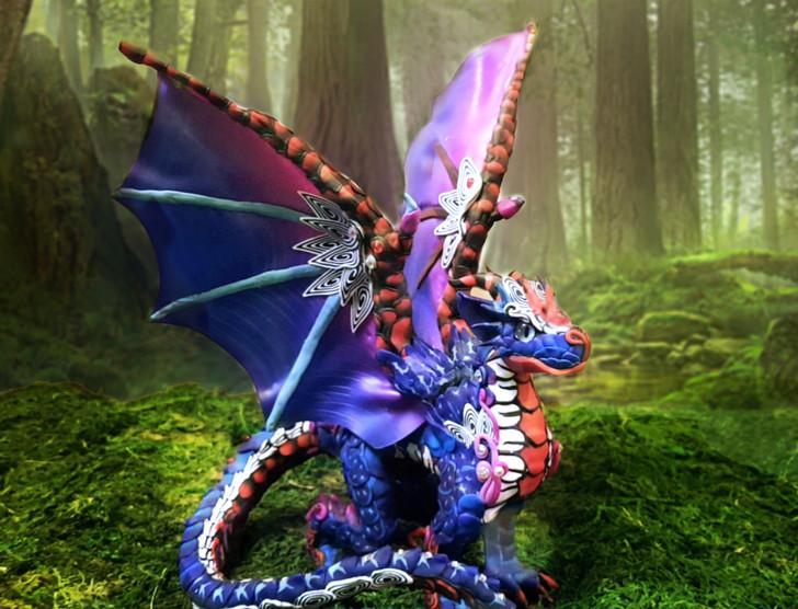 Blue Alebrije Dragon Sculpture