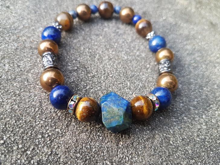 Lapis Lazuli & Tigers Eye Bracelet (M-L)