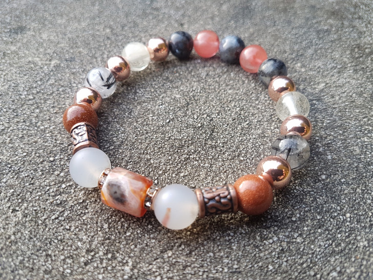 Crazy Agate & Marine Chalcedony Bracelet (M)