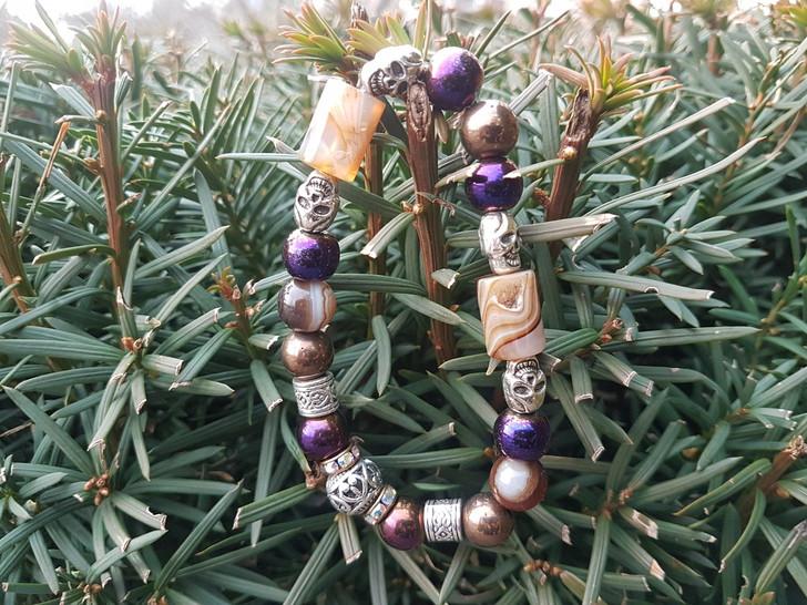 Banded Agate & Colored Hematite Bracelet (M)