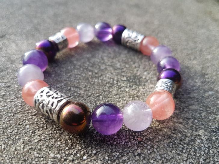 Rose Quartz & Amethyst Bracelet (M-L)