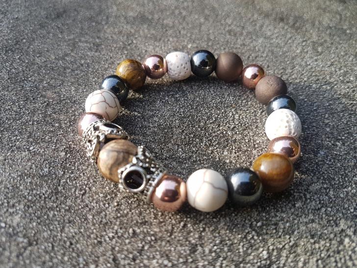 Howlite Jasper & Hematite Bracelet (M)