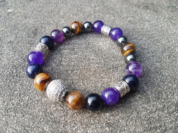 Amethyst, Tiger's Eye and  Blue Sunstone Bracelet (M-L)