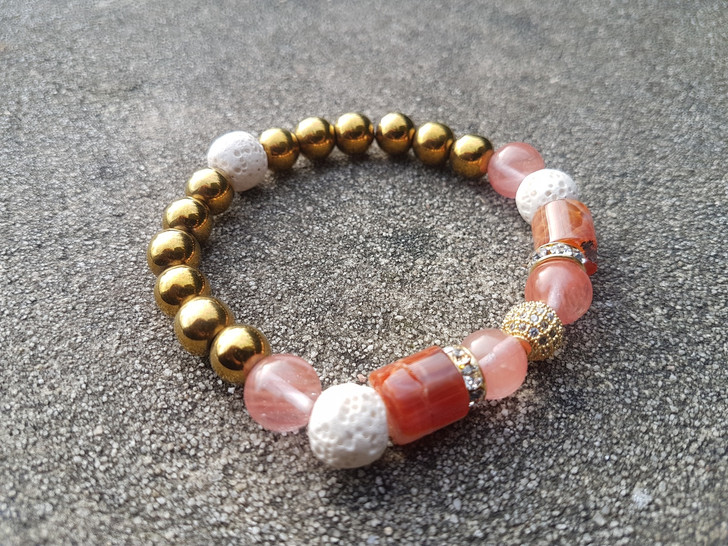 Crazy Agate & Cherry Quartz Bracelet (M)