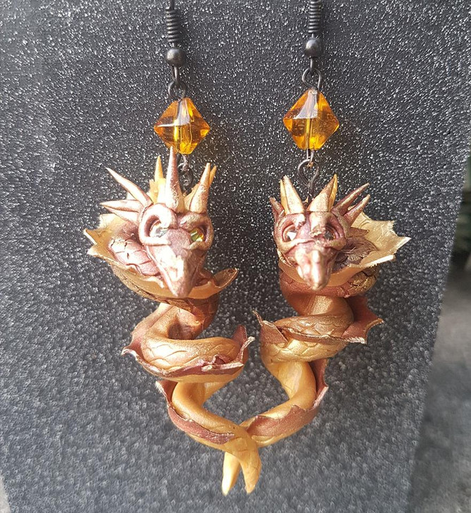 Dragon Earrings Copper and Gold