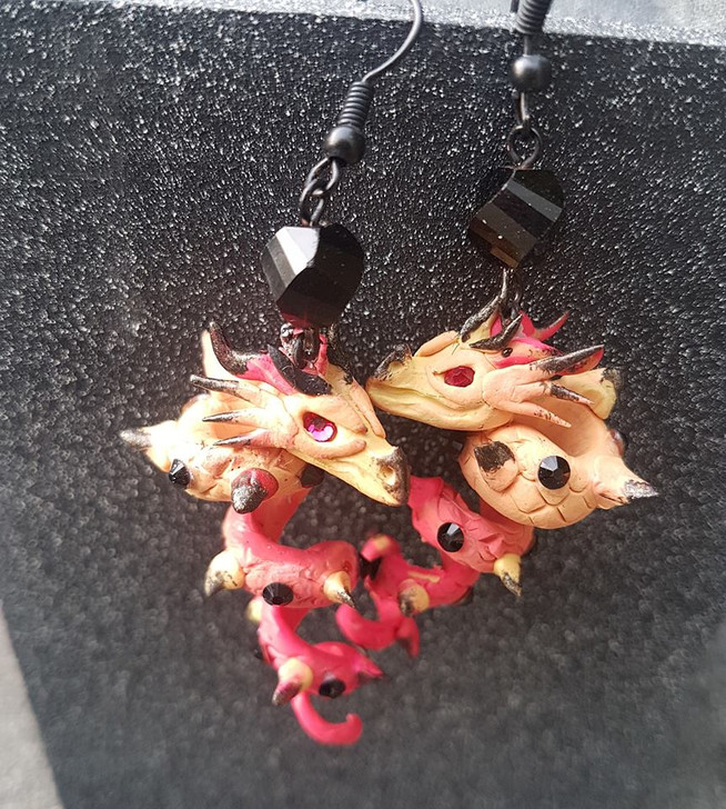 Dragon Earrings Pink and Black