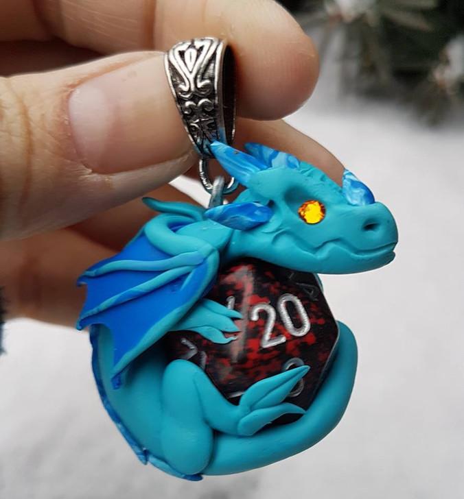 Turquoise Blue Dragon Pendant D20