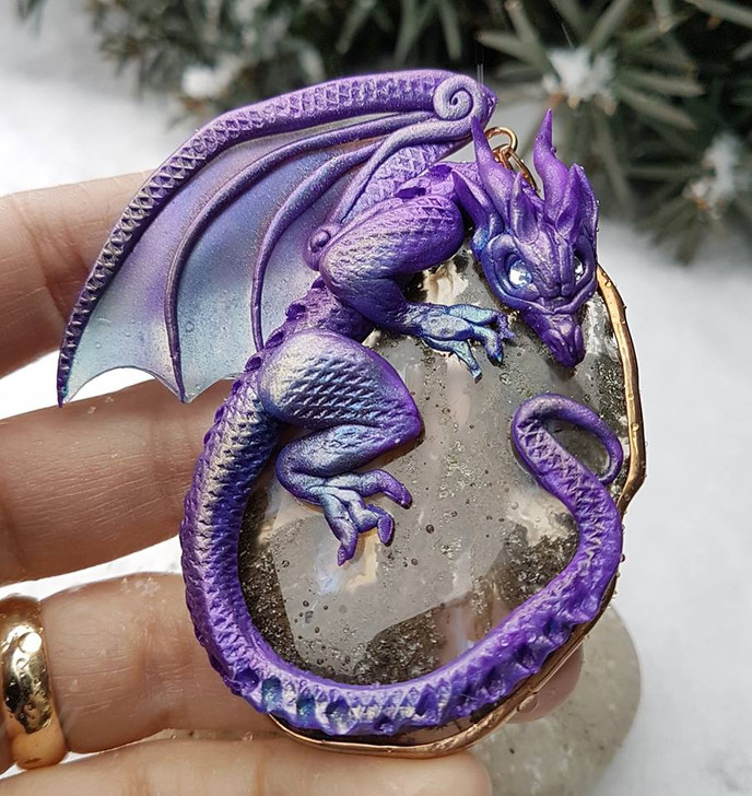 Purple Dragon Moss Agate Pendant