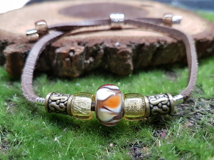 Crystal Beads Leather Bracelet (L-S)