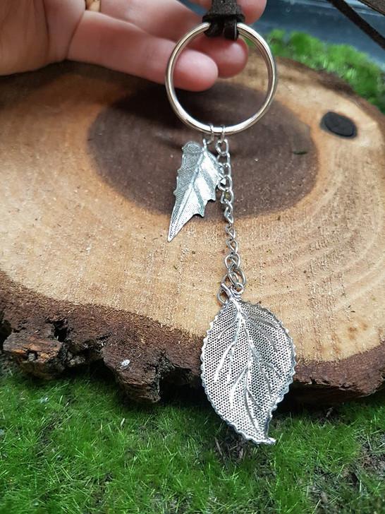 Leaves Metal Leather Pendant