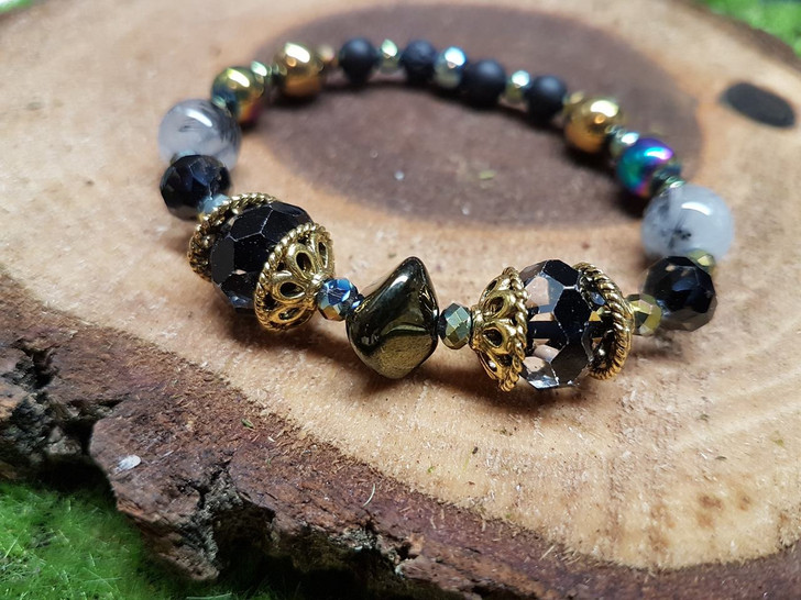 Rutilated Quatz and Crystals Bracelet (M)