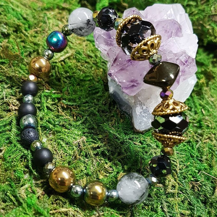 Rutilated Quatz and Crystals Bracelet (M)