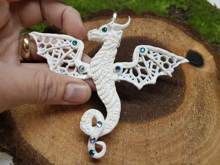 White Lace Dragon Pendant
