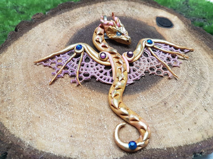 Golden and Pink Lace Dragon Pendant