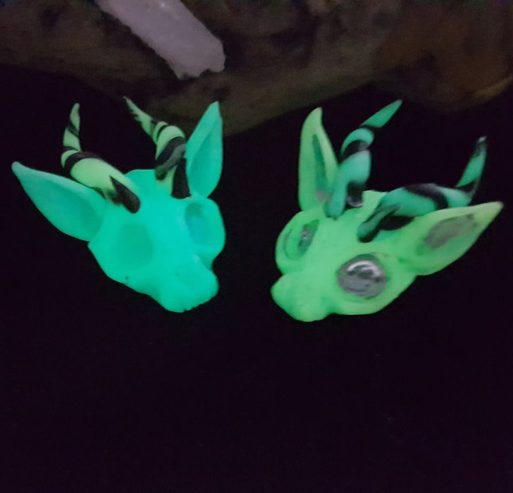 Demon Cat Skull Green GLOW