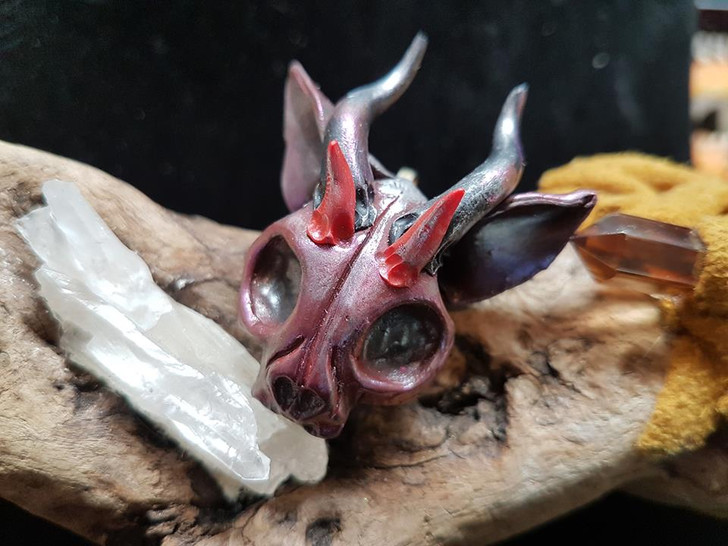 Demon Cat Skull Red Pendant