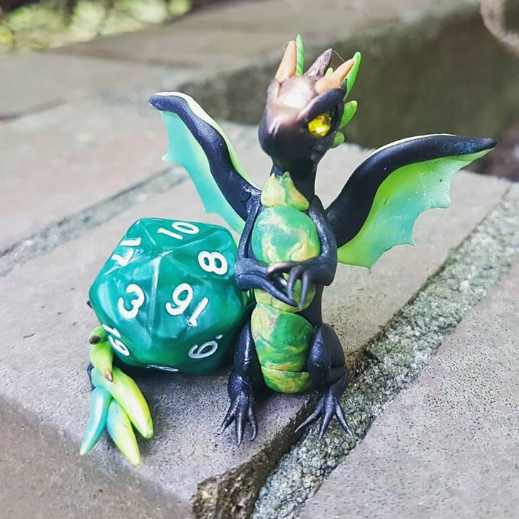Small D&D Dragon with Dice Green