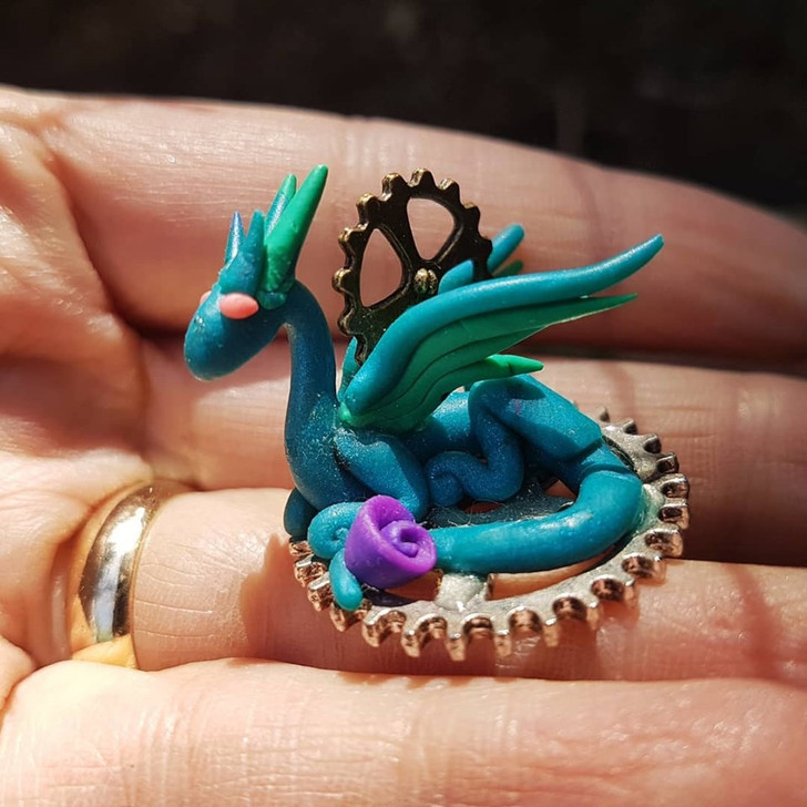 Blue Mini Dragon Steampunk