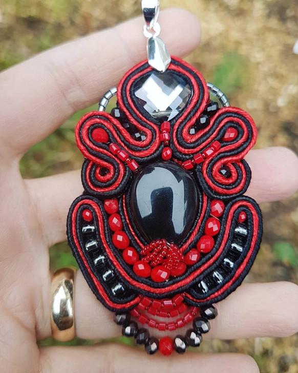 Black Agate Red Soutache Pendant