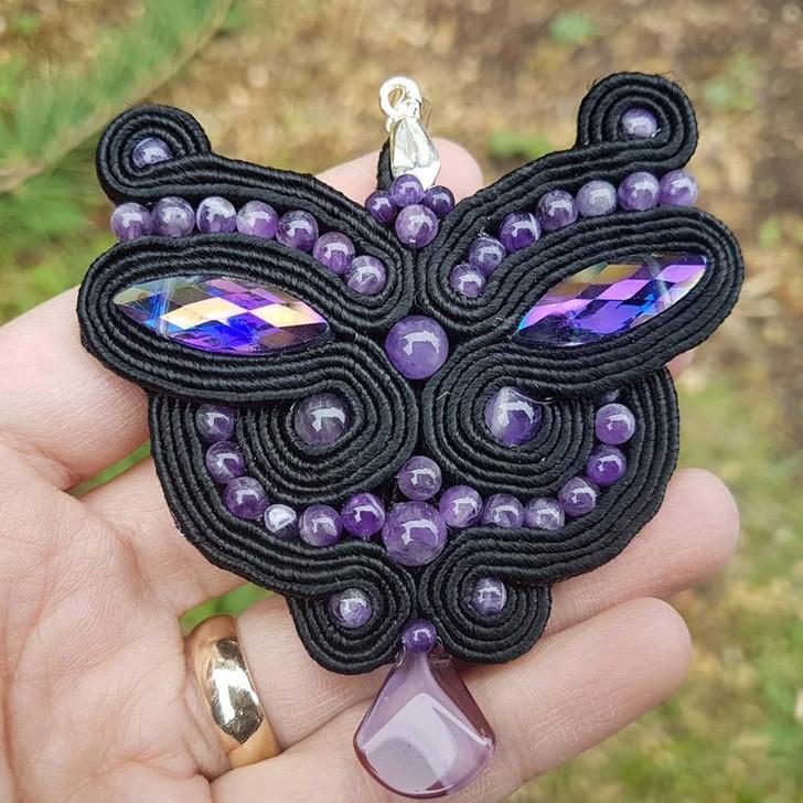Amethyst Butterfly Eyes Soutache Pendant