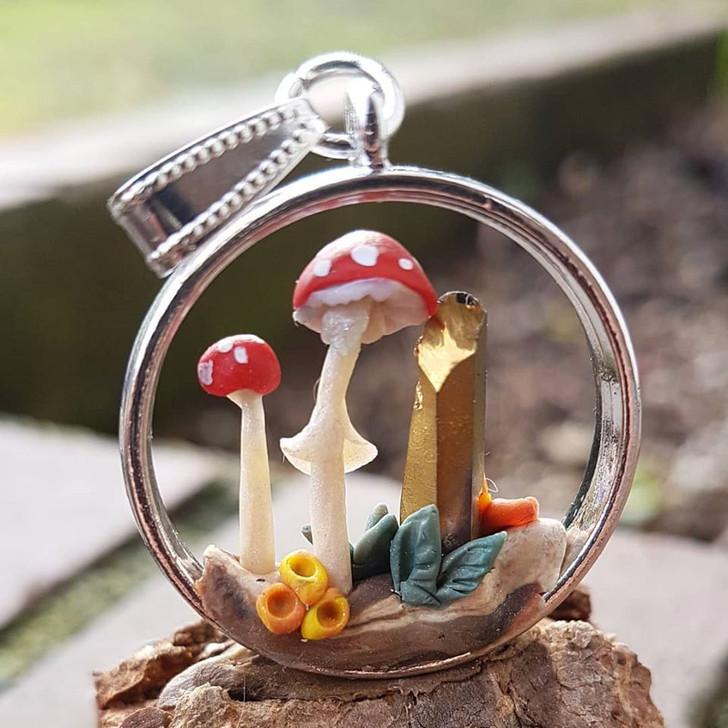Mushroom Terrarium Pendant 2