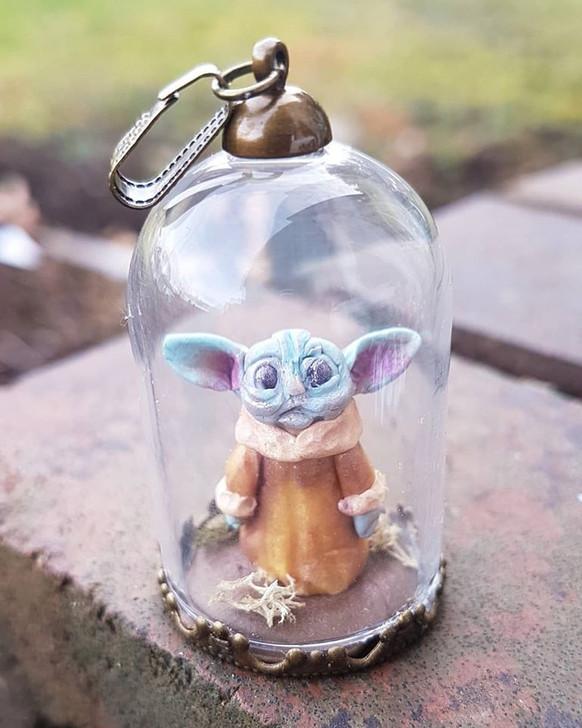Miniature Baby Yoda 4 Pendant