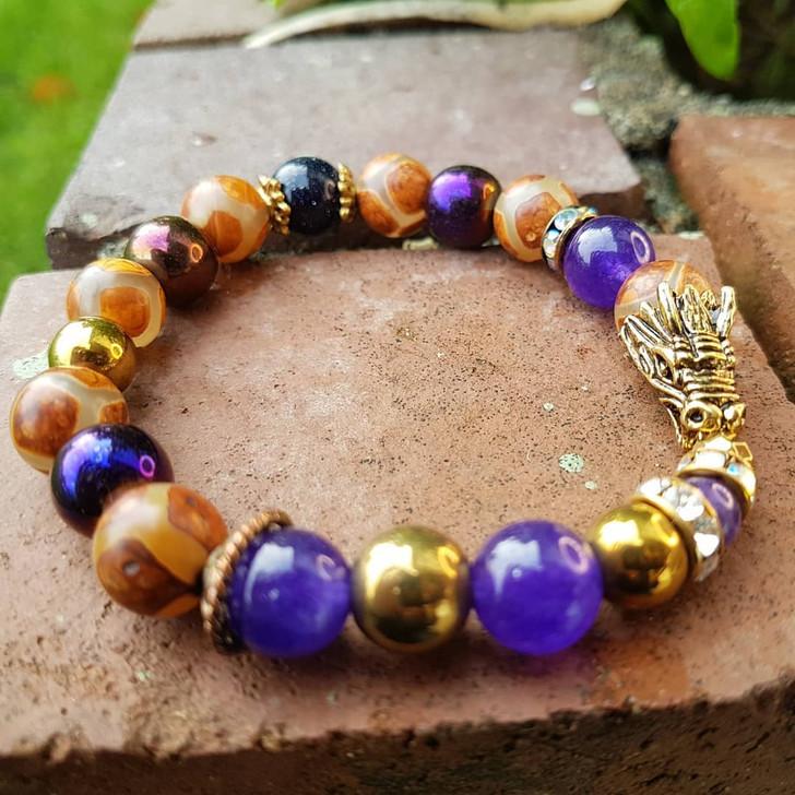 Brass and Purples Dragon Bracelet (S-M)