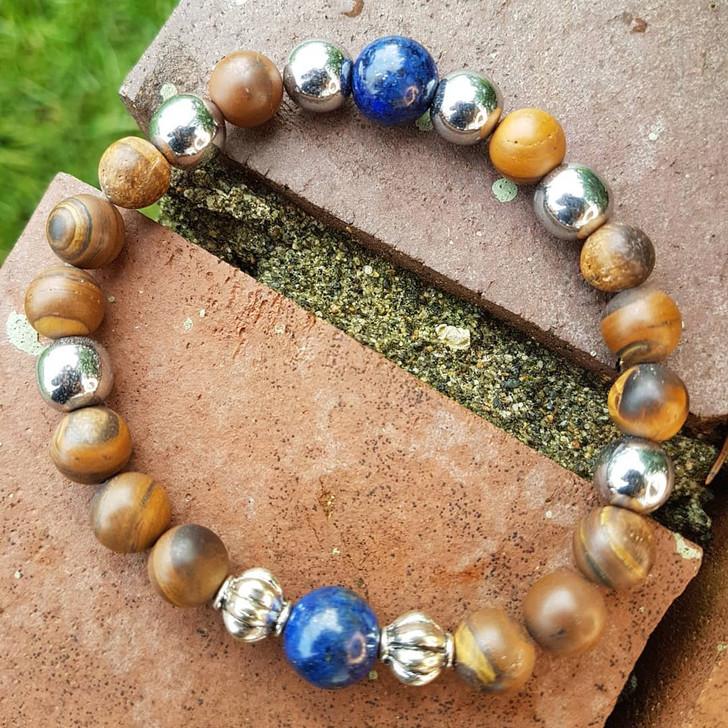 Tigers eye and Lapis Lazuli Bracelet (M-L)