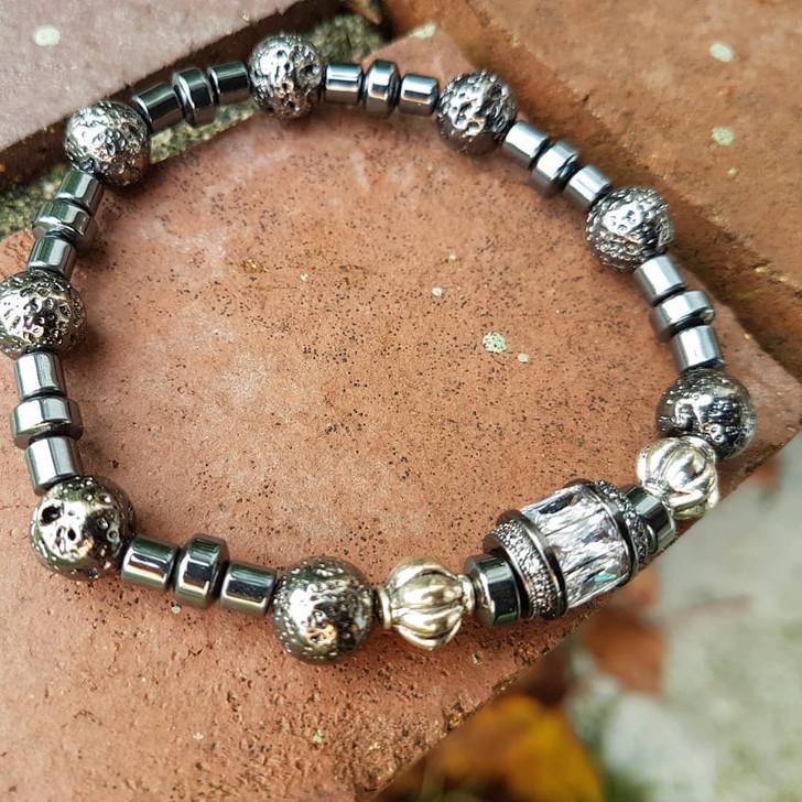 Hematite and Zircon Bracelet (L)