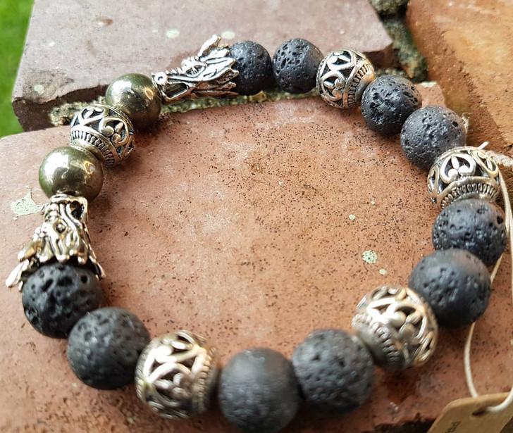 Pyrite, Lava stones and Dragons Bracelet (L)