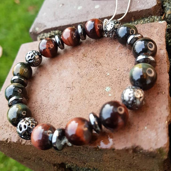 Tigers Eye Hematite and Lava Bracelet (M)