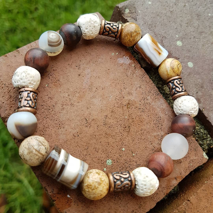 Agate, Red Tigers Eye and White Lava Bracelet (L)