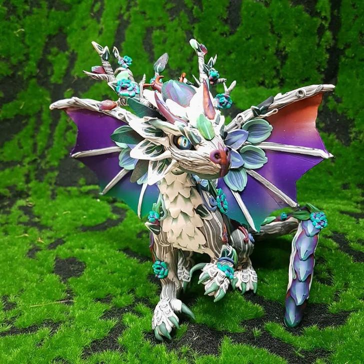 Sandstone Wildflower Dragon Sculpture 2021