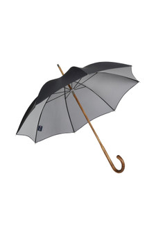 Gents Hickory Solid Stick Umbrella - Double sided Black / Silver