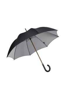 Gents Beechwood Ince Umbrella - Double sided Black/silver - Black Leather Handle
