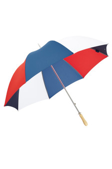 "James Ince Sturdy 30"" Golf Umbrella - Red, White, Navy & Blue - light wood handle"