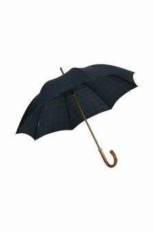 Gents Beechwood Ince Umbrella - Black Watch Tartan - Chestnut handle