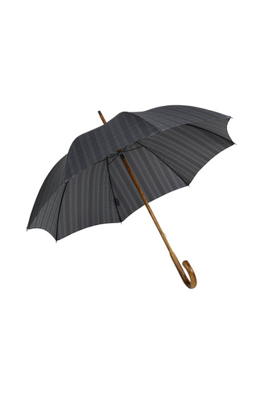 Gents Hickory Solid Stick Umbrella - Prince of Wales Plaid