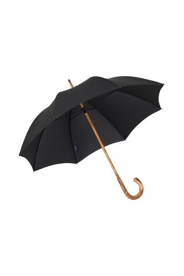 Gents Hickory Solid Stick Ince Umbrella - Black Polycotton