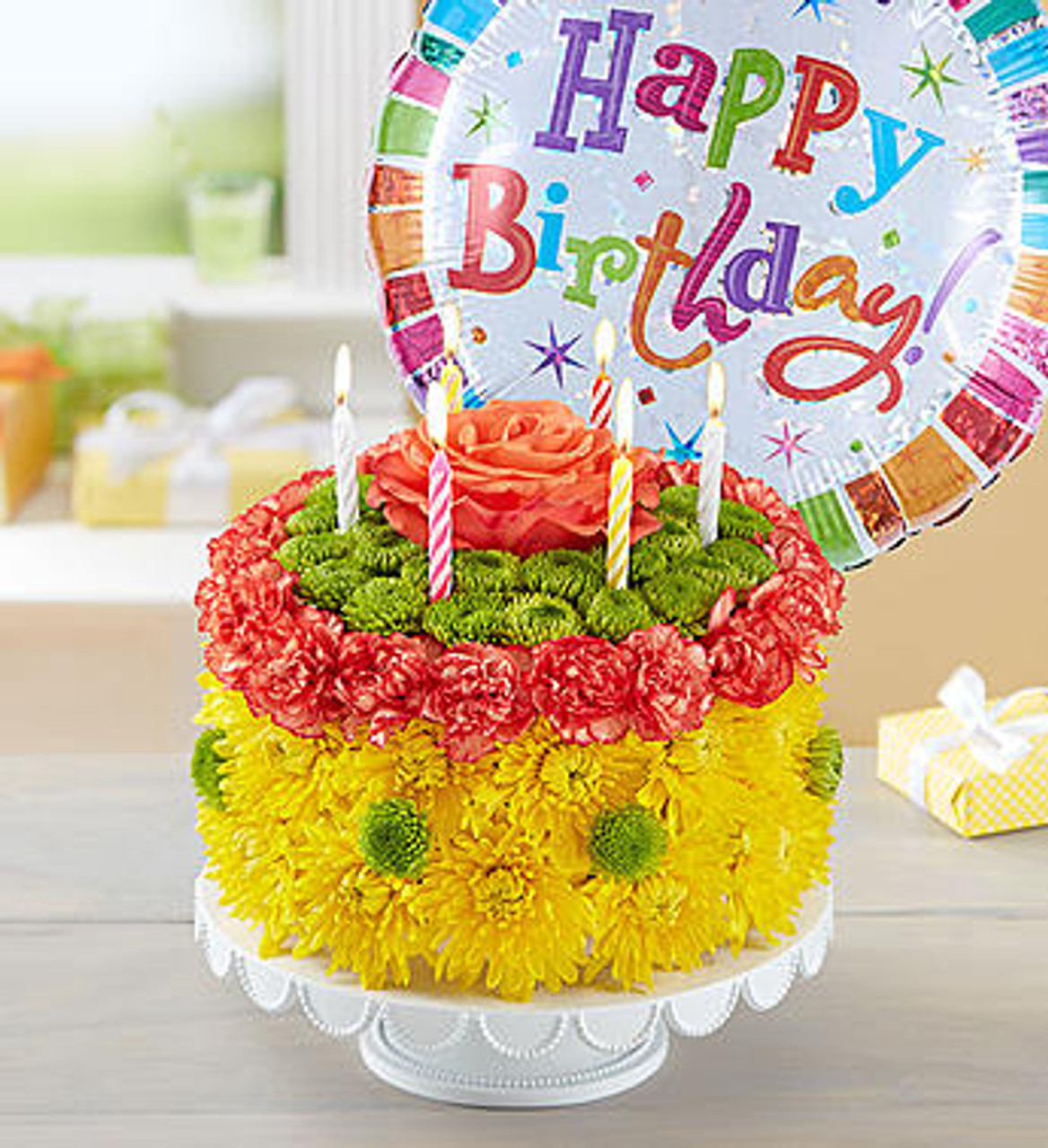 Peachy Birthday Wishes Flower Cake Yellow Conroys Flowers Funny Birthday Cards Online Alyptdamsfinfo