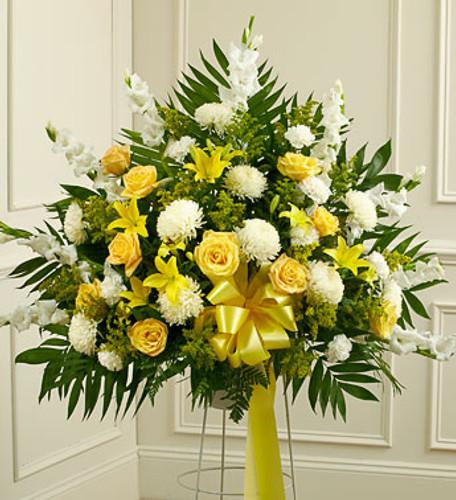 Heartfelt Sympathies Yellow Standing Basket Simi Valley Florist