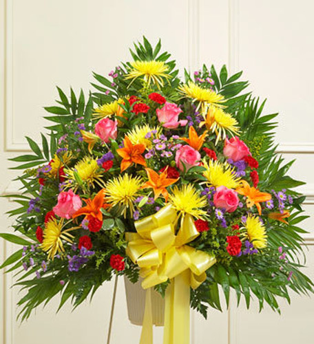 Heartfelt Sympathies Bright Standing Basket Florist Simi Valley