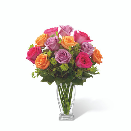 One Dozen Assorted Roses that make a vibrant display!