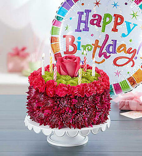 EXCLUSIVE Purple Adds A Pop With This Birthday Wishes Flower Cake Handcrafted Fresh Carnations